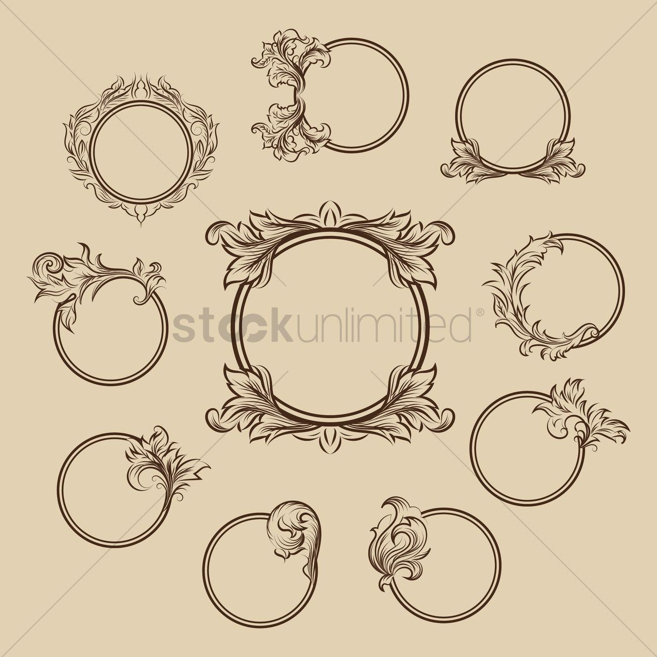 Collection of circular ornamental frames Vector Image - 1626826 ...