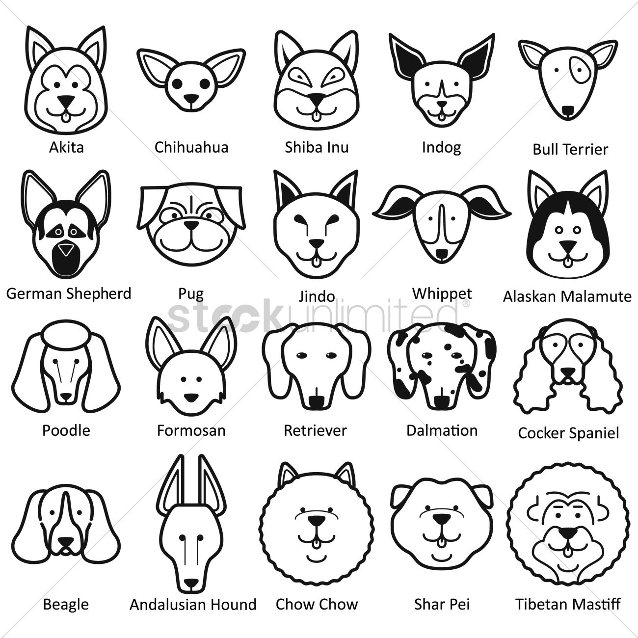 Line Drawing Of A Dog S Face : Collection of dog faces vector image