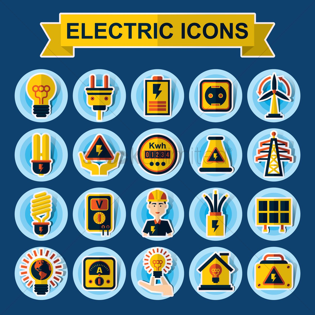 Collection Of Electrical Icons Vector Image 1407062 Stockunlimited