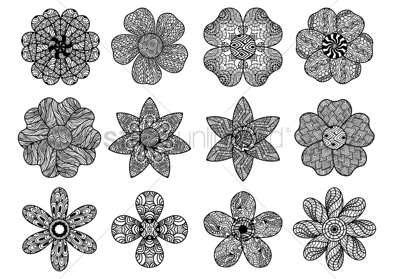 Collection Of Intricate Floral Designs Vector Graphic