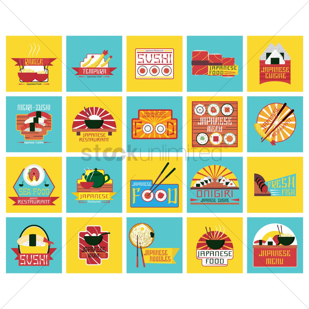 collection of japanese food labels vector image - 1543778