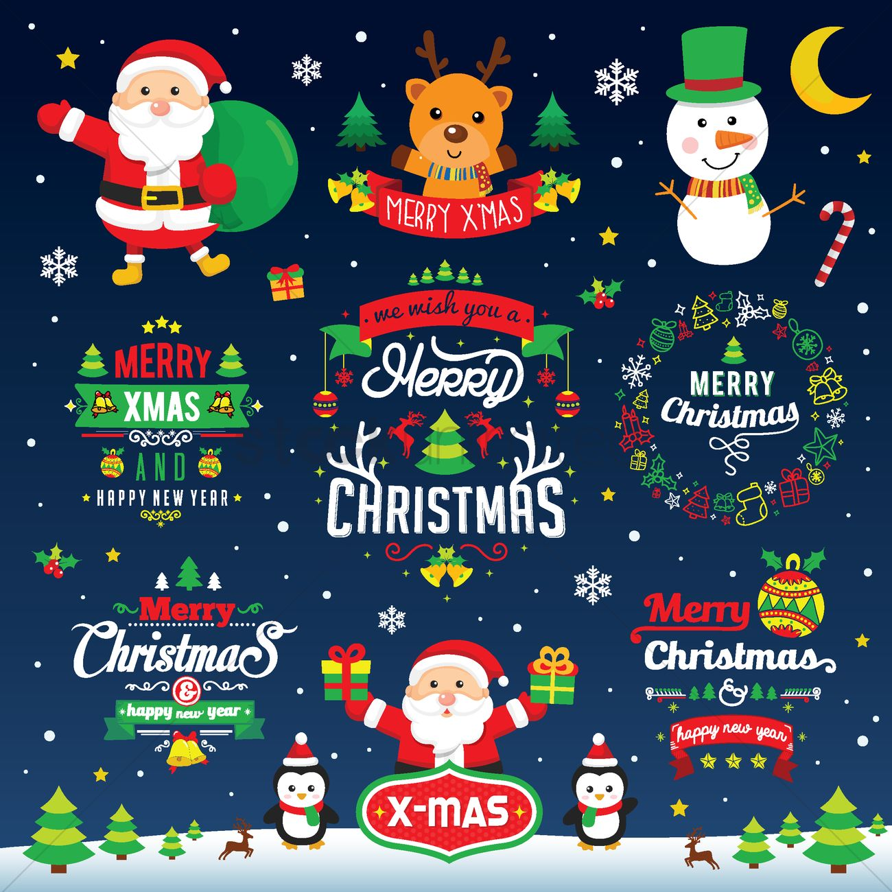 Collection of merry christmas card design Vector Image - 1746590 ...
