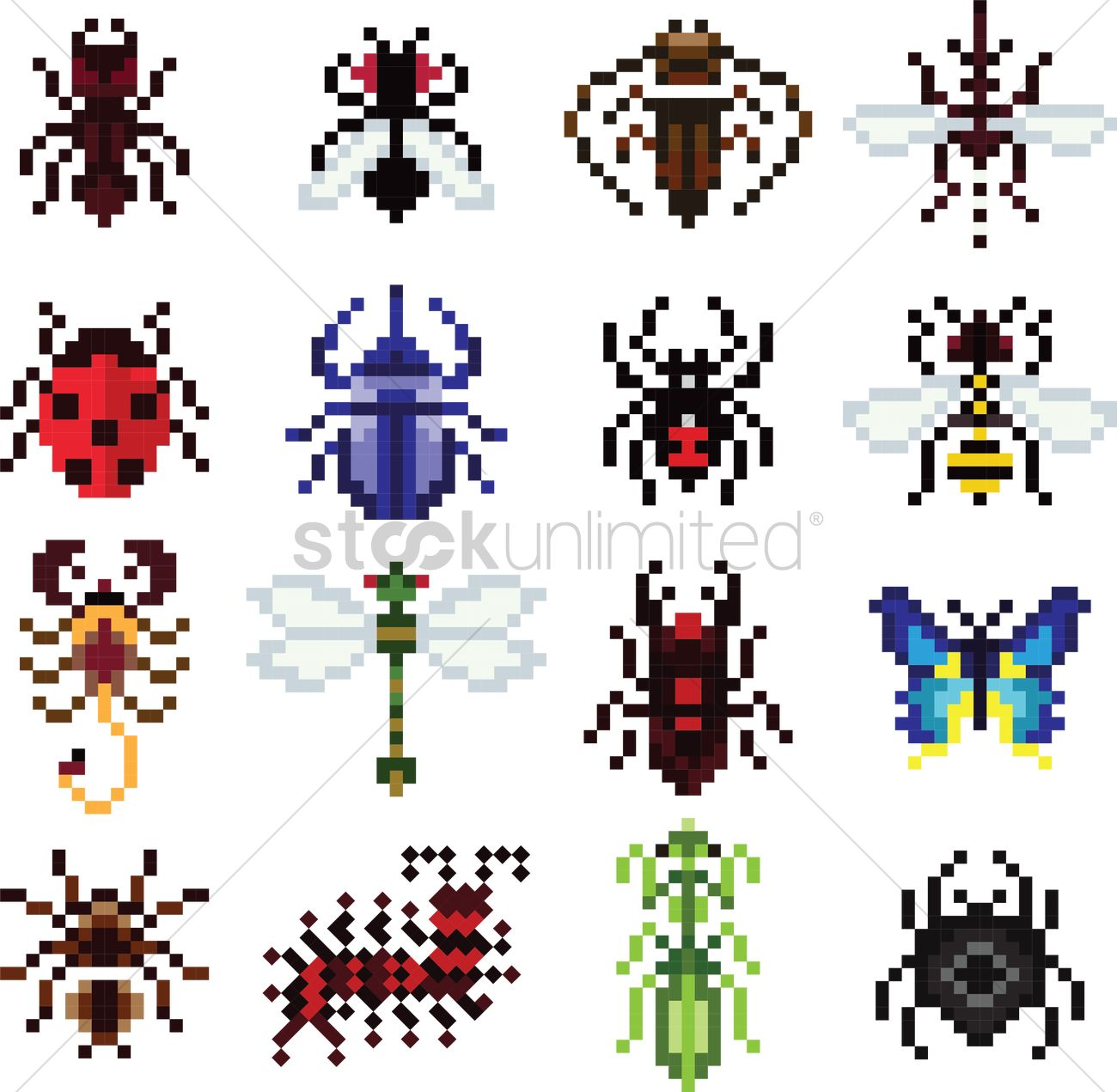 Collection Of Pixel Insects And Animals Vector Image