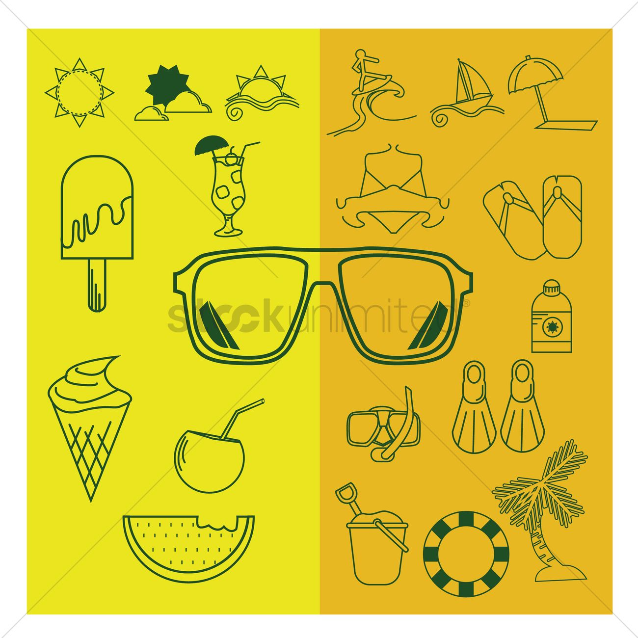 b5fcefbdaf3a Collection of summer icons Vector Image - 1587890