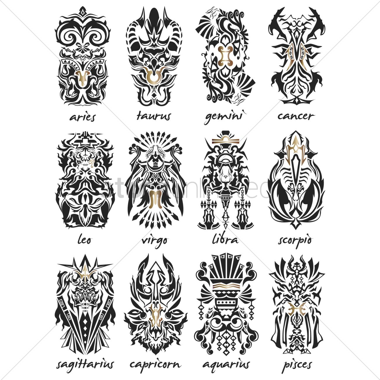 65 Leo Zodiac Sign Tattoos Collection: Collection Of Tattoo Horoscope Designs Vector Image
