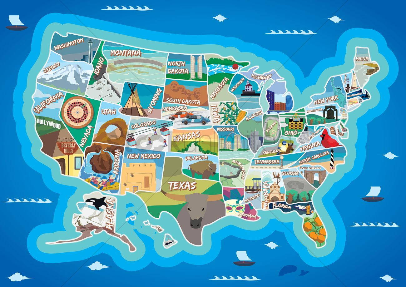 Collection Of Usa Map Vector Image