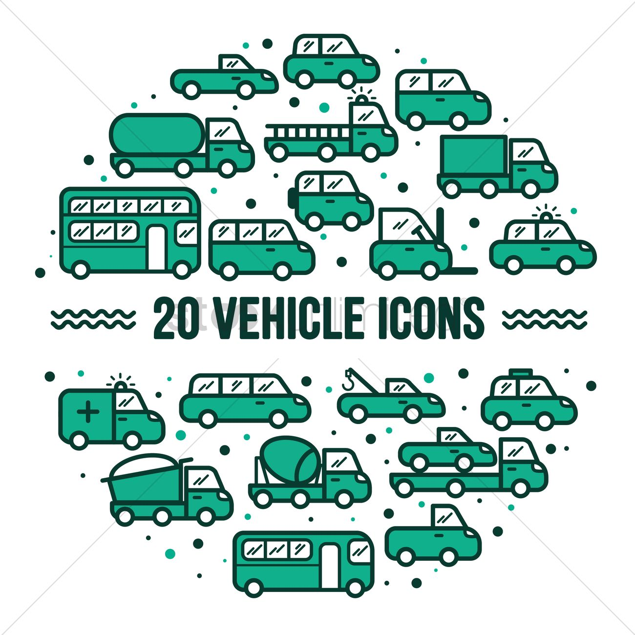 Collection of vehicle icons Vector Image - 1535178 | StockUnlimited