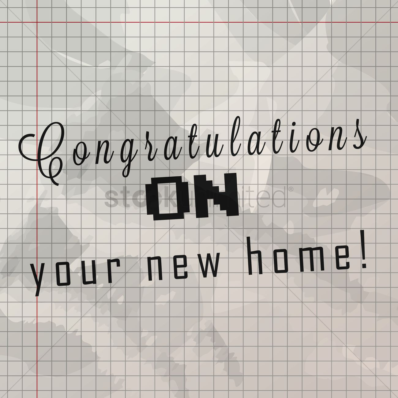congratulations on your new home on grid paper vector image congratulations on your new home on grid paper vector graphic