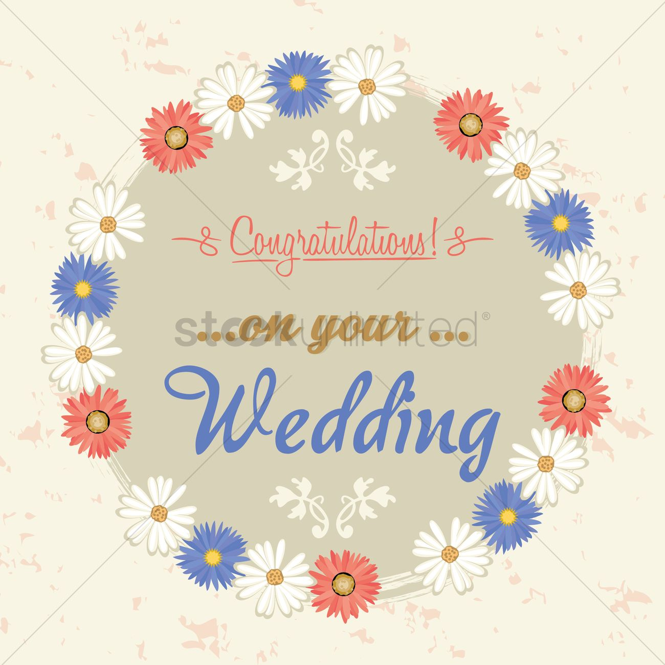 congratulations on your wedding label vector graphic