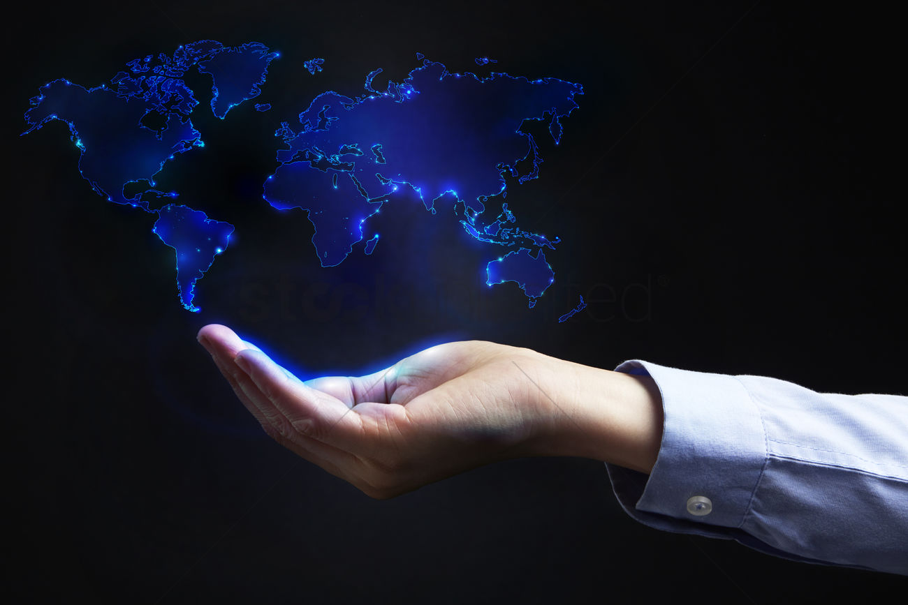 Cupped hand below a digital world map design stock photo 1934866 cupped hand below a digital world map design stock photo gumiabroncs