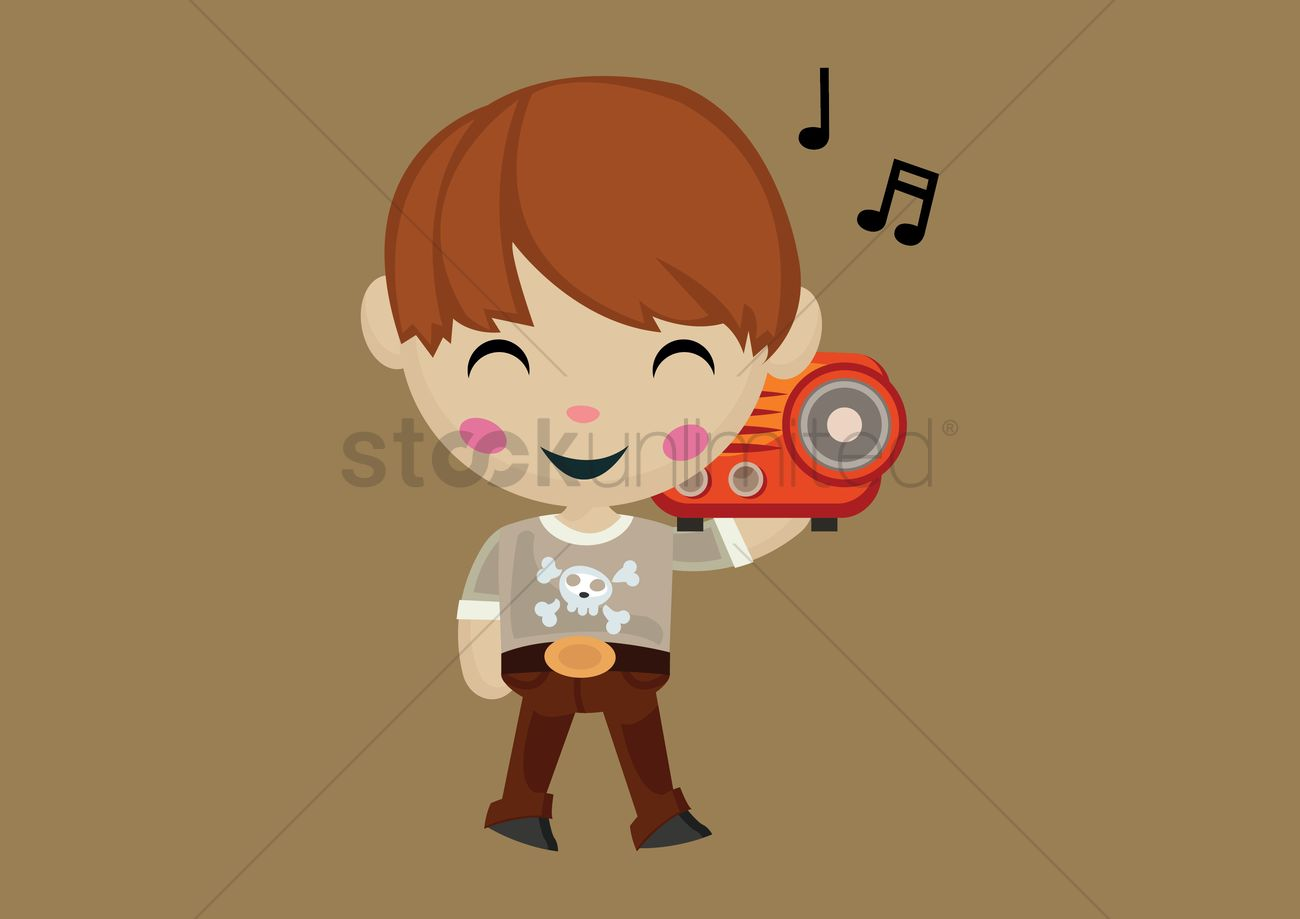cute boy listening to music on the radio vector graphic