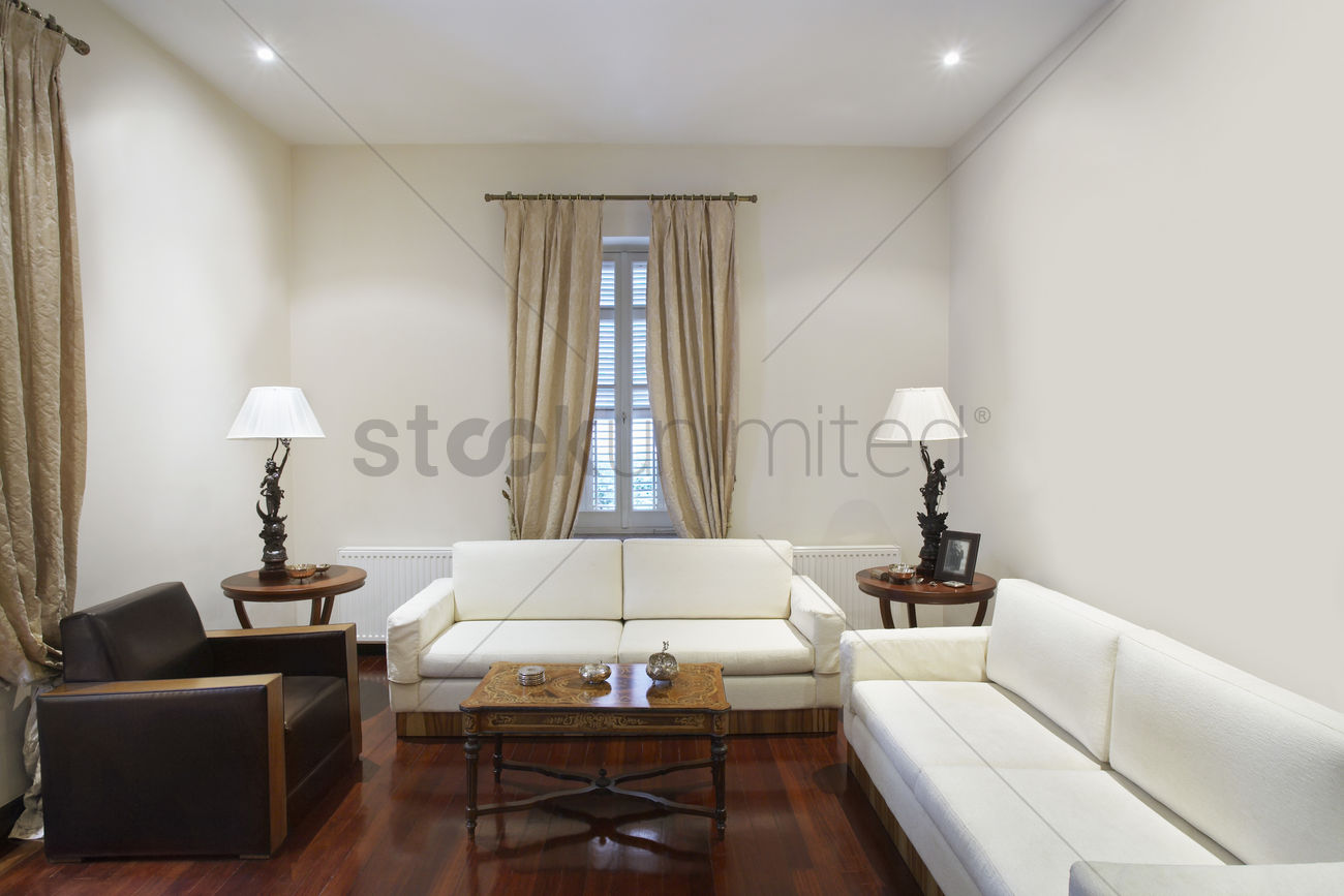 Cyprus Living Room Of Colonial Style House Stock Photo