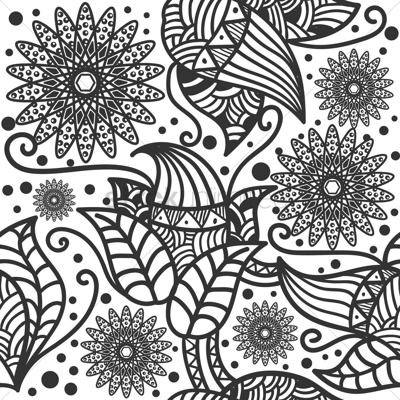 Decorative Flower Wallpaper Vector Image 1571510 Stockunlimited