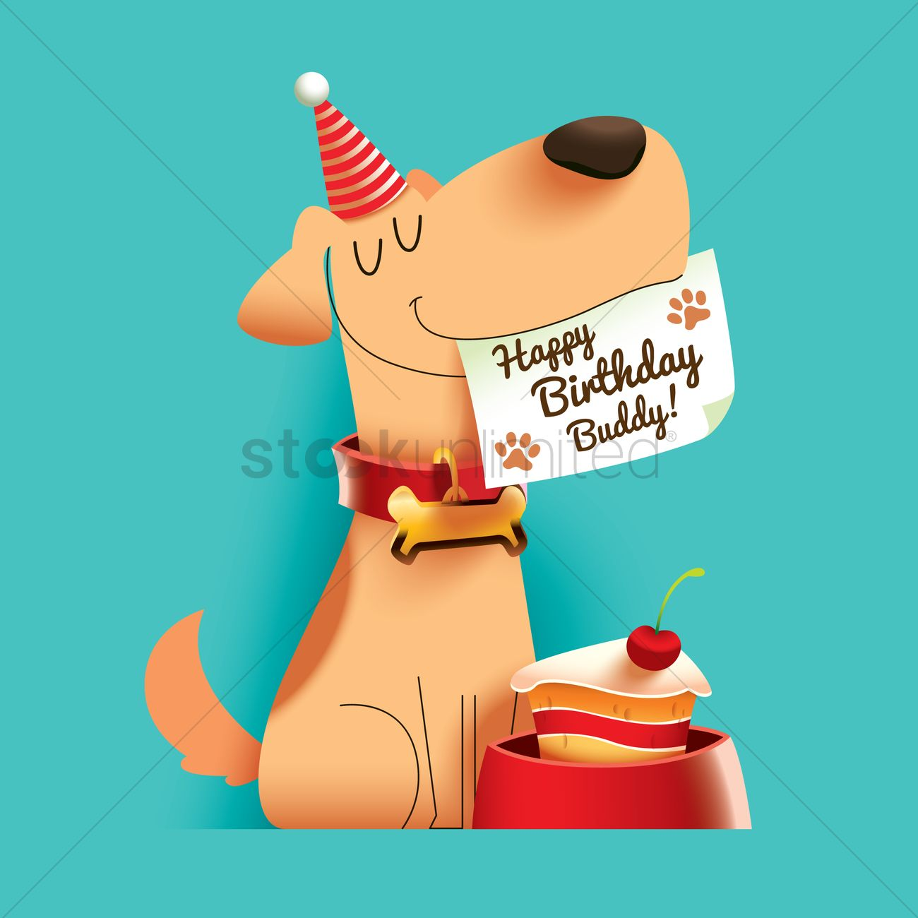 Dog With Happy Birthday Buddy Note Vector Image 1797678 Stockunlimited