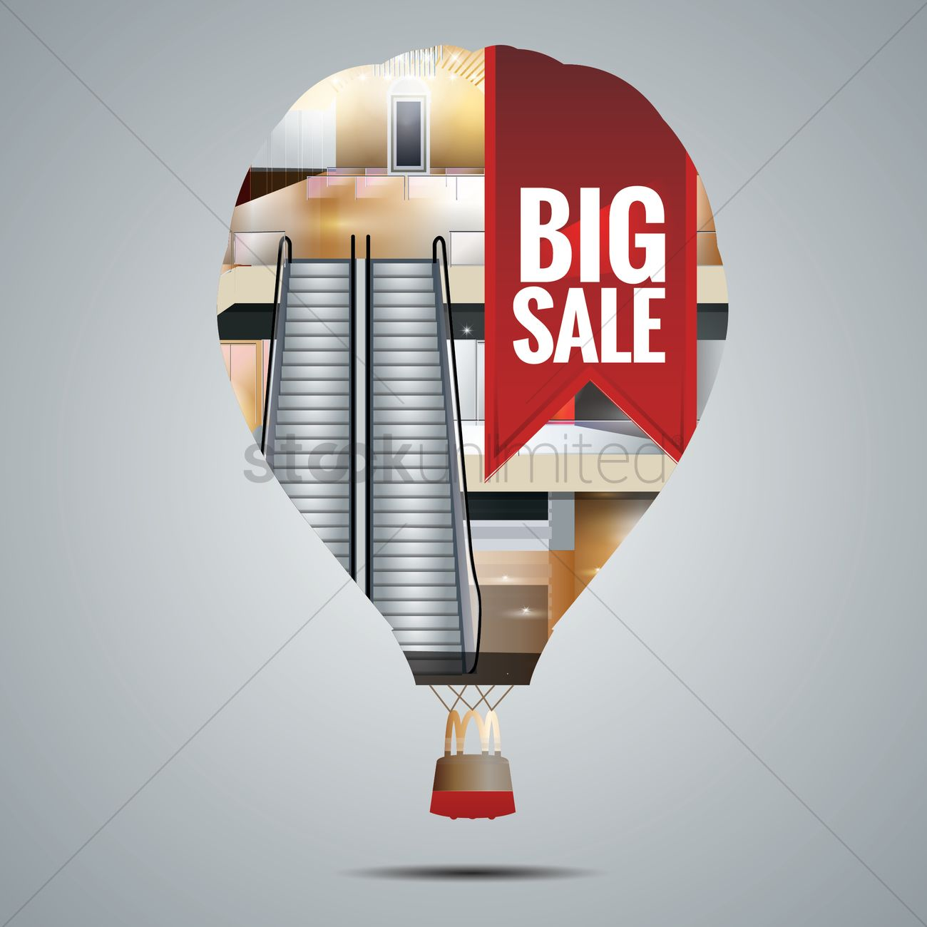 Double exposure of a hot air balloon and a shopping mall Vector ...