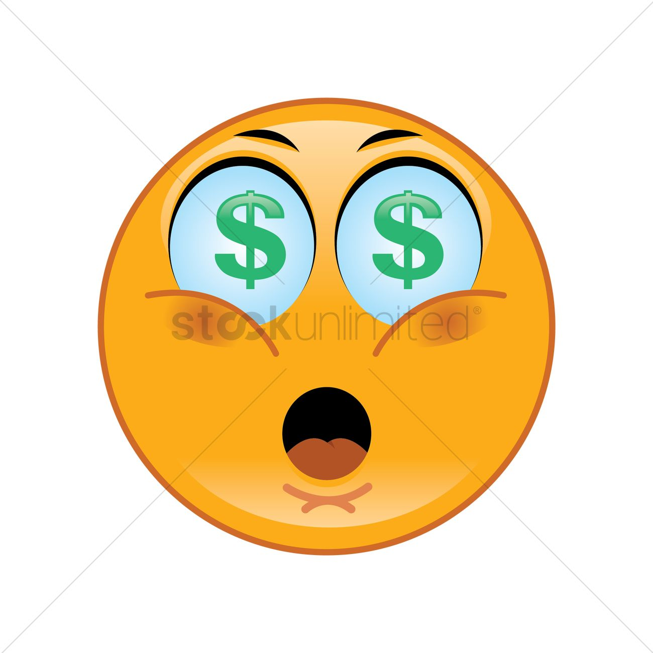 excited smiley with dollar sign eyes vector image