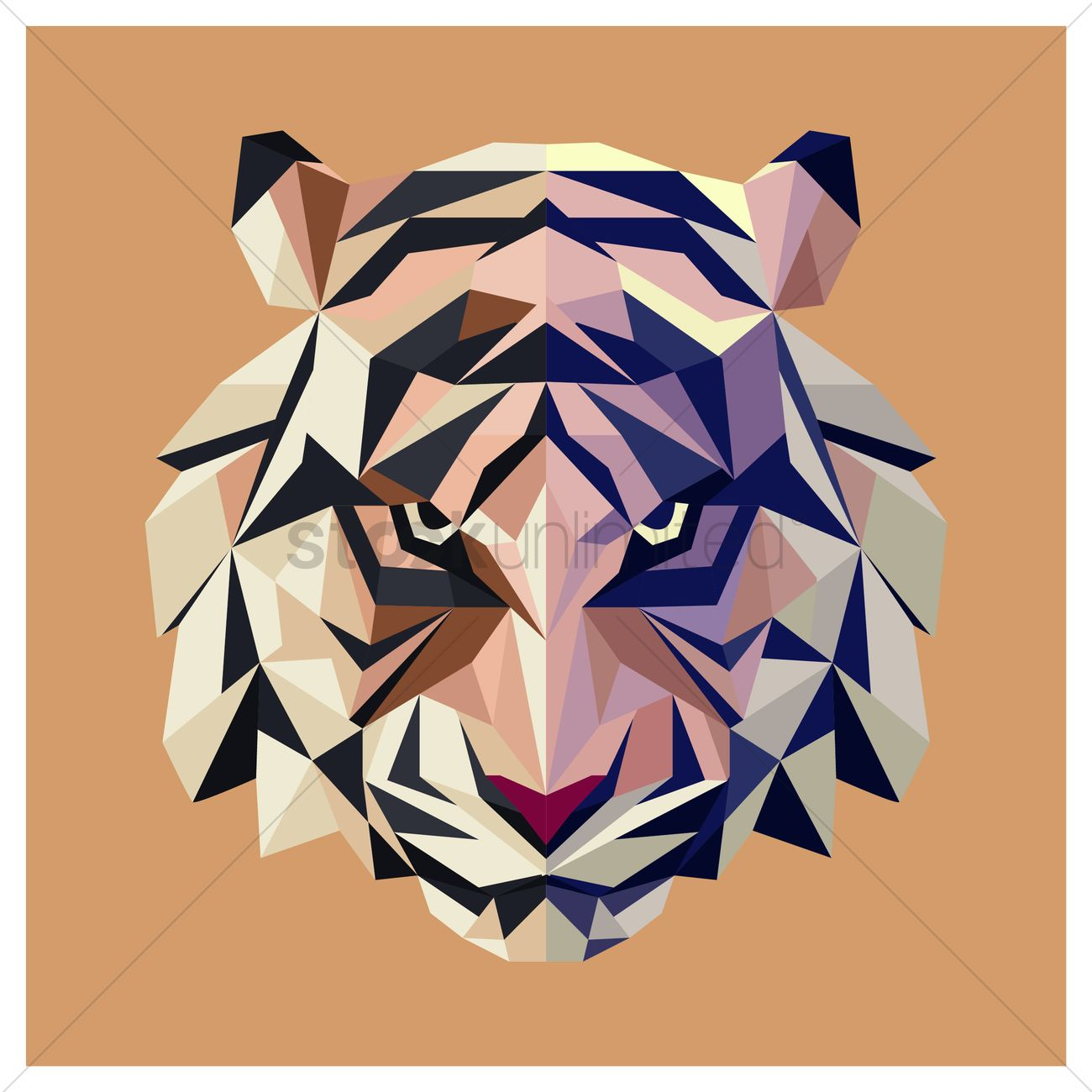 faceted tiger vector image 1571034 stockunlimited