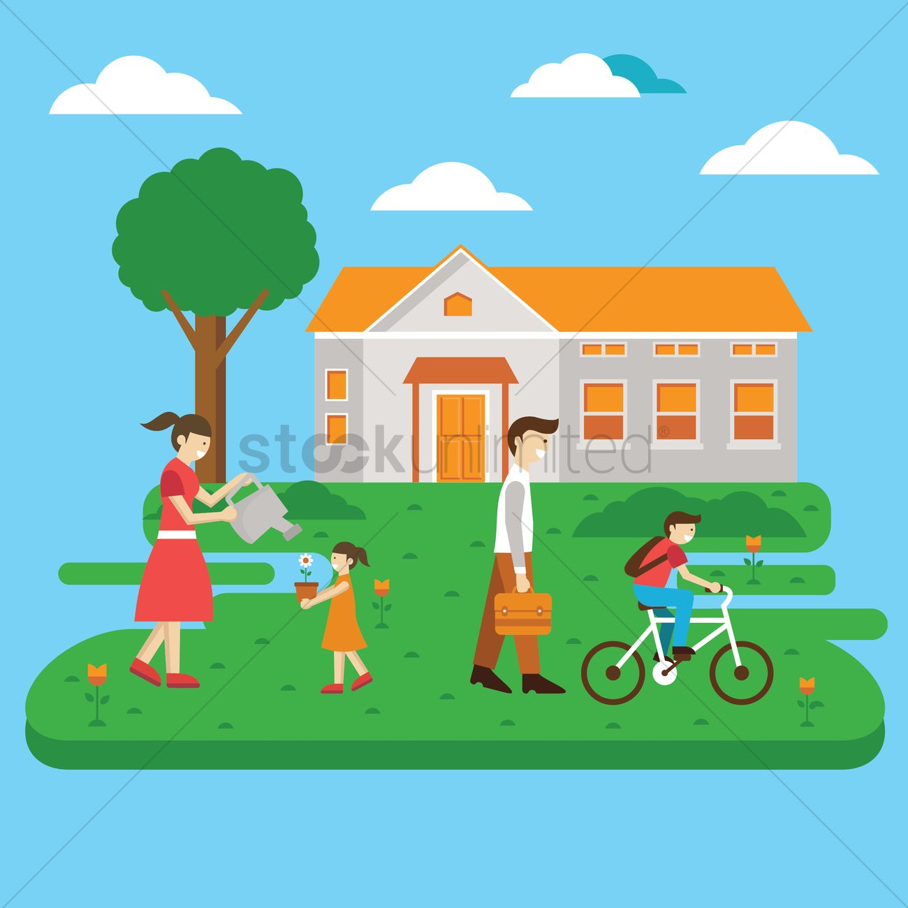 Family Activity Vector Graphic