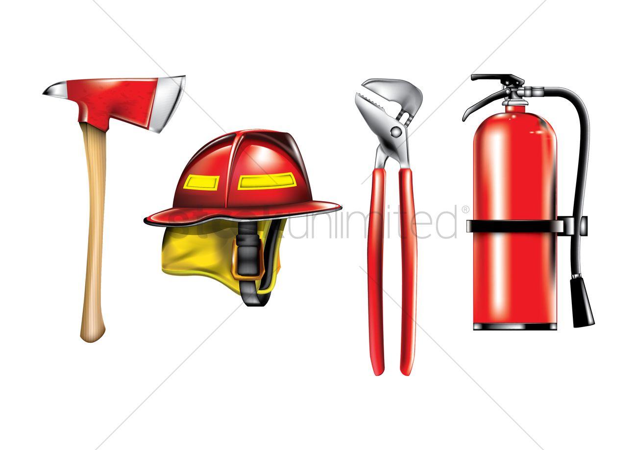 firefighter equipment set vector image 1806330 firefighter clipart black and white firefighter clip art free
