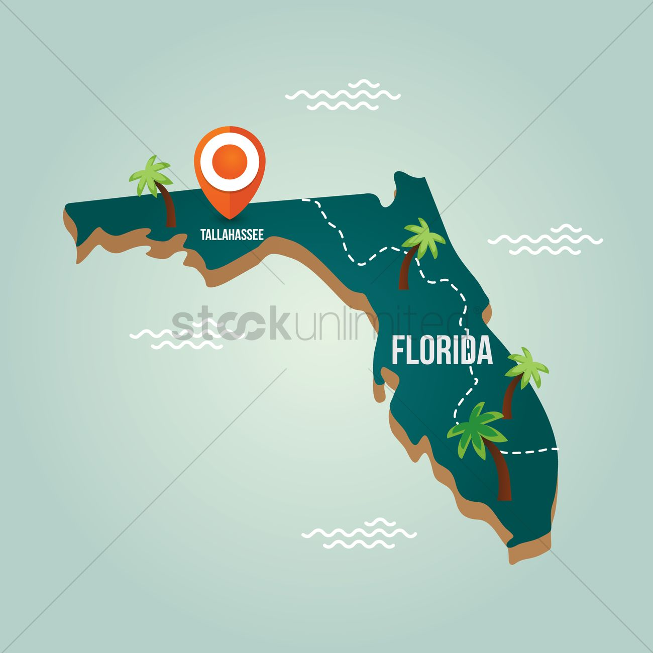 florida map with capital city vector graphic