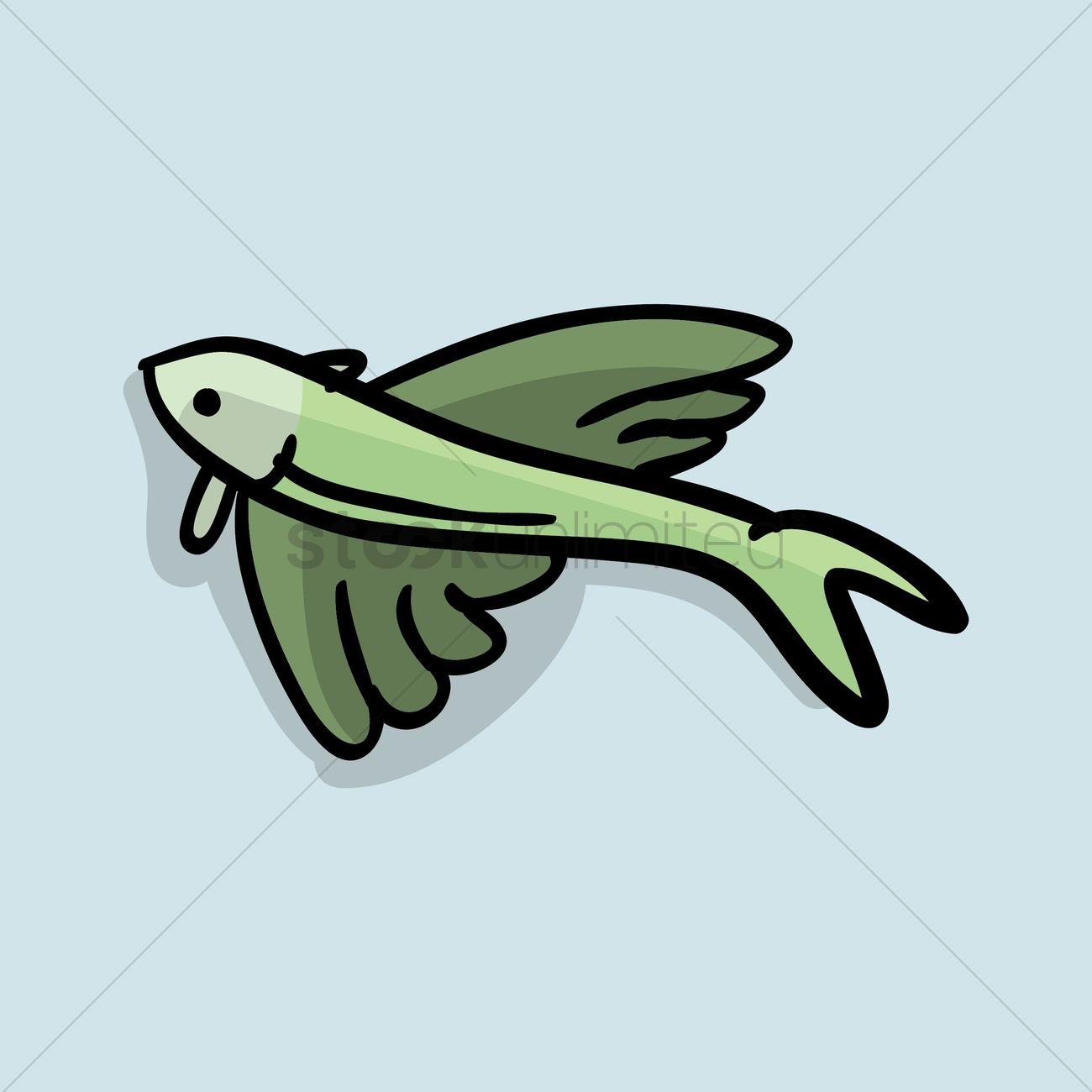 Flying Fish Cartoon Vector Image 1420002 Stockunlimited