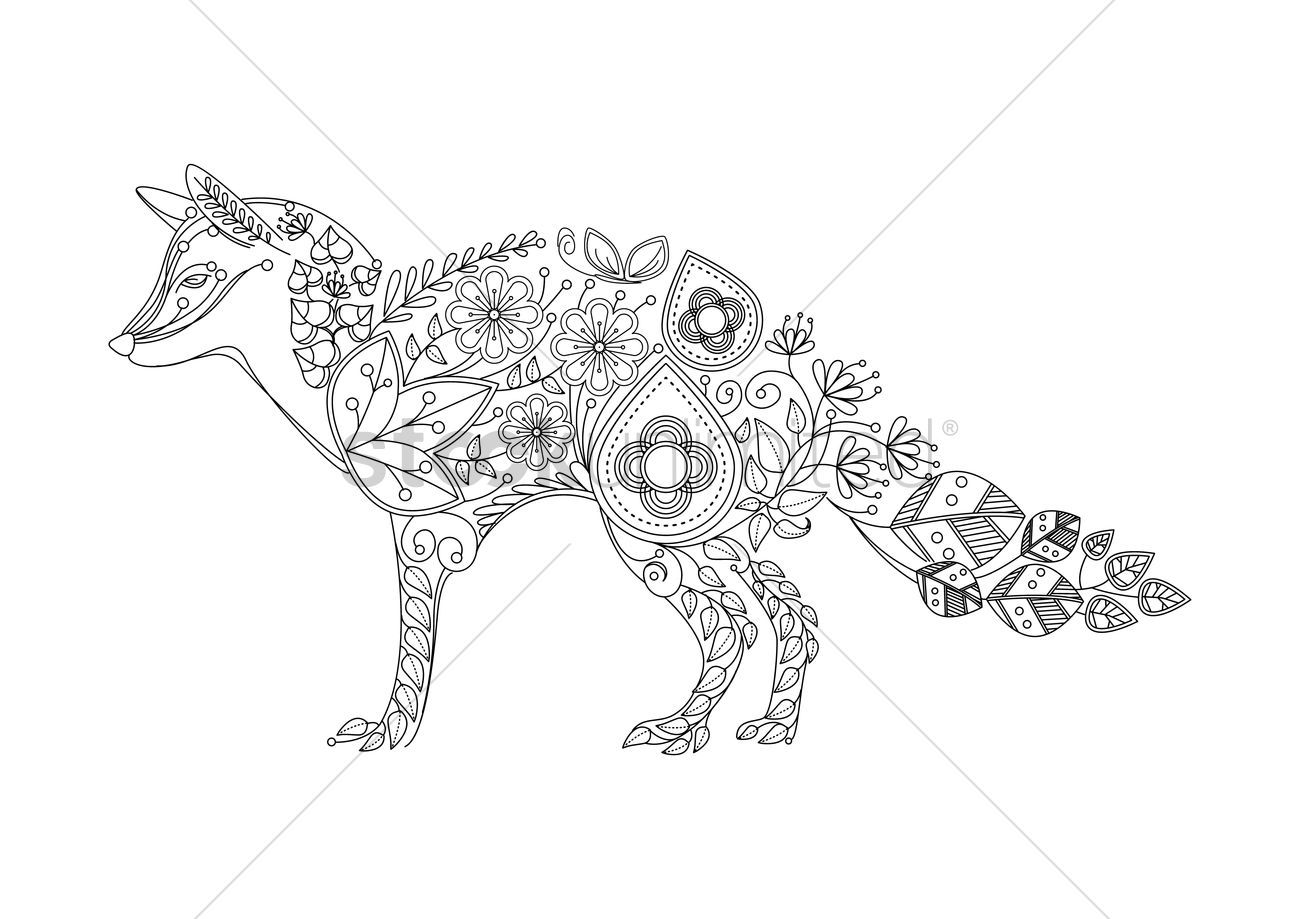 fox intricate design vector graphic - Fox Coloring Book
