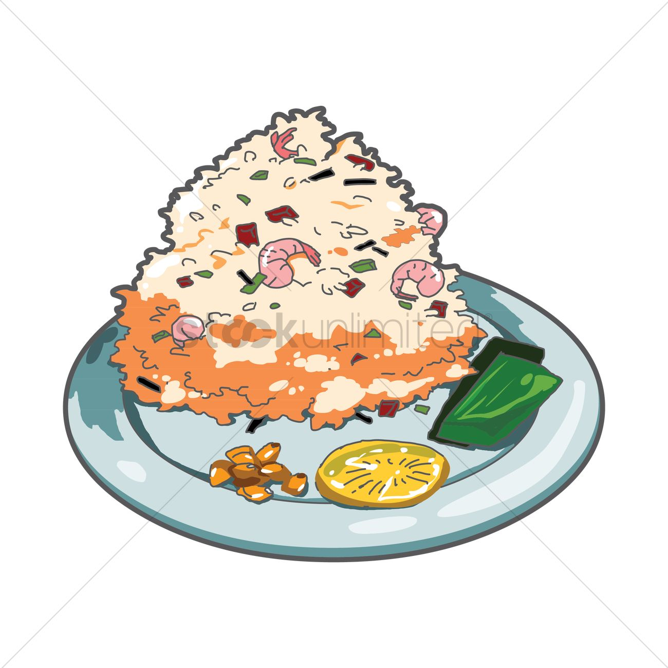 Fried Rice With Shrimps Vector Image 1506490 Stockunlimited