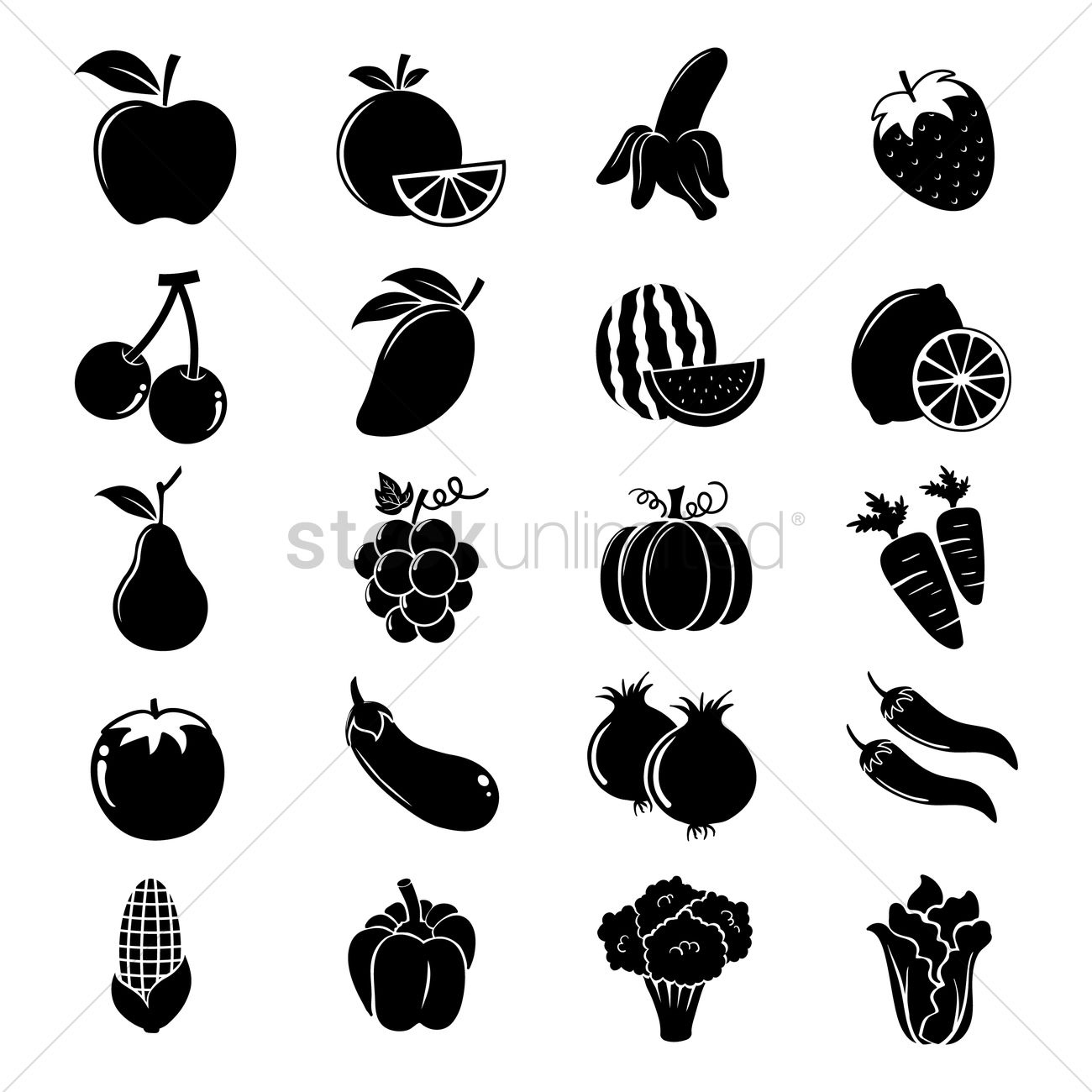 D Line Drawings Vegetables : Fruit and vegetable silhouettes vector image