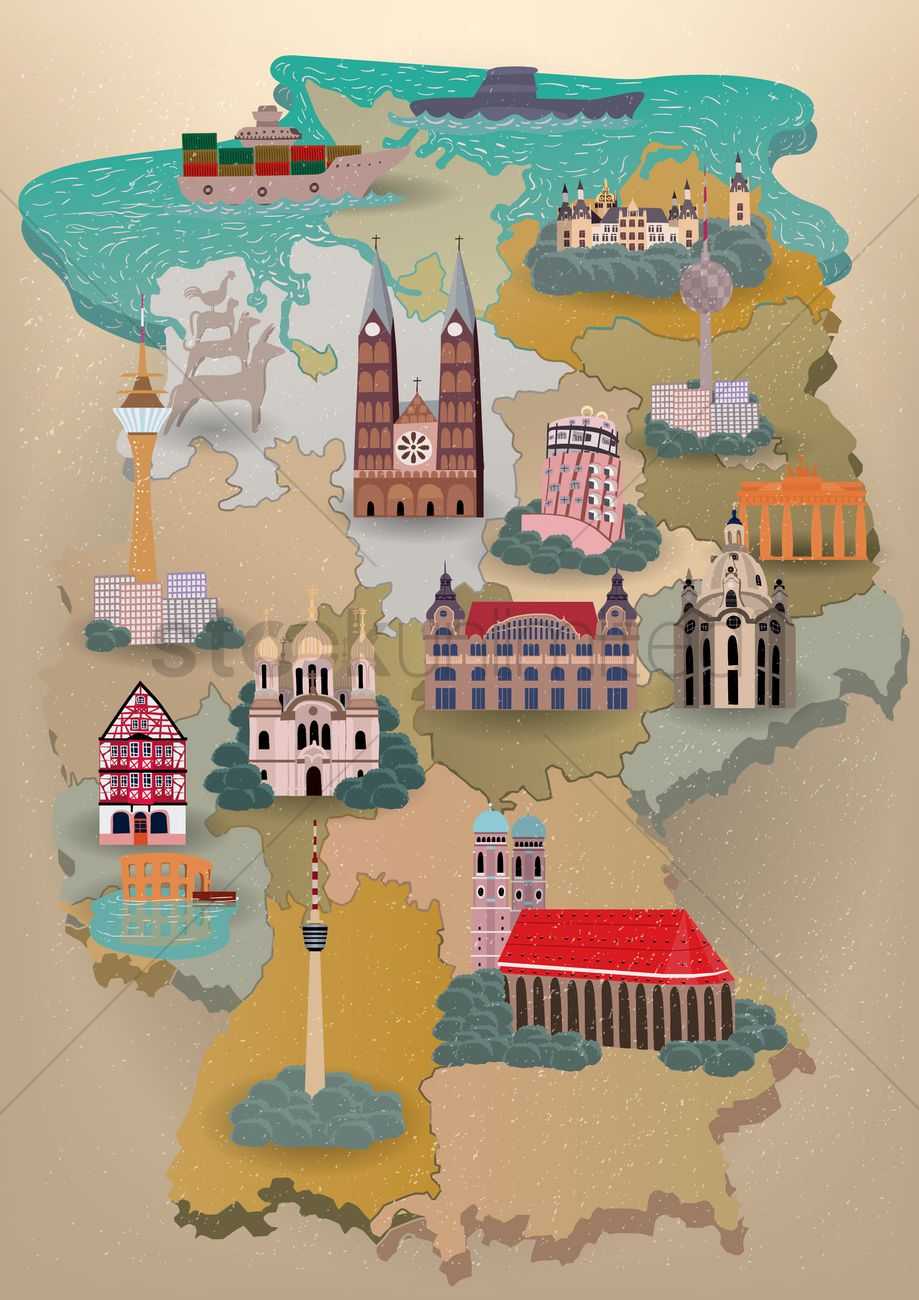 germany map with landmarks vector graphic