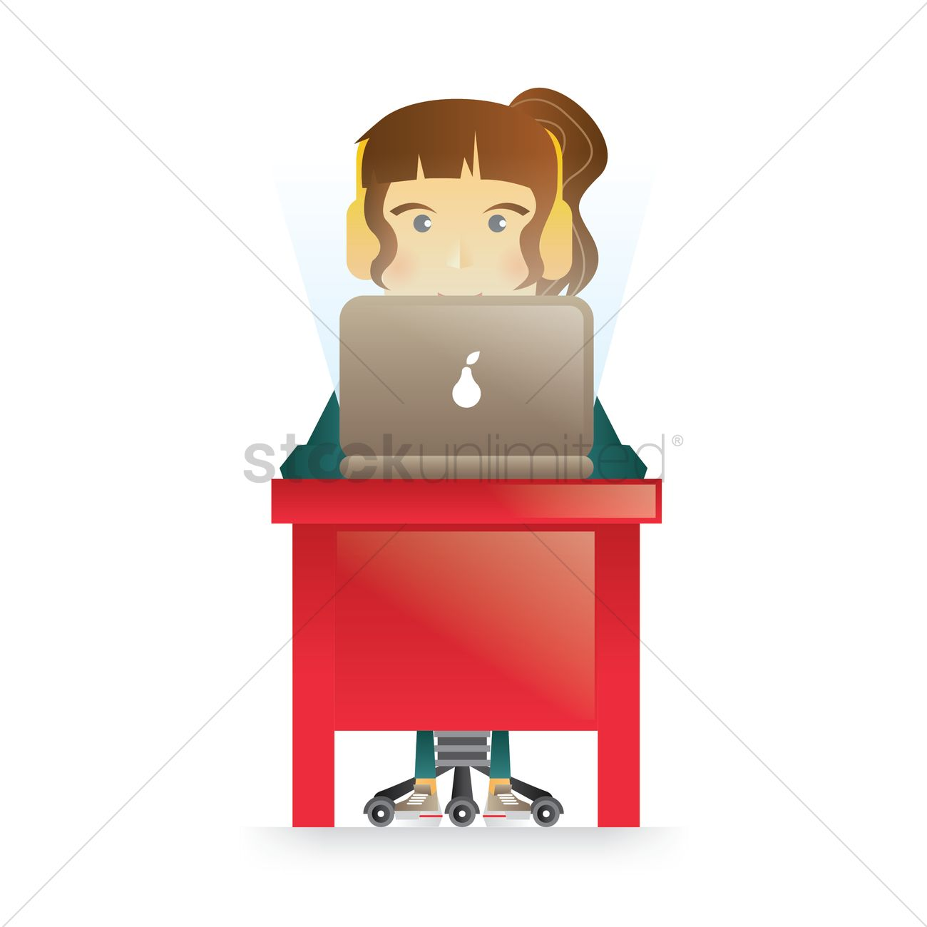 Girl Surfing Internet - Happy Version Clipart Image