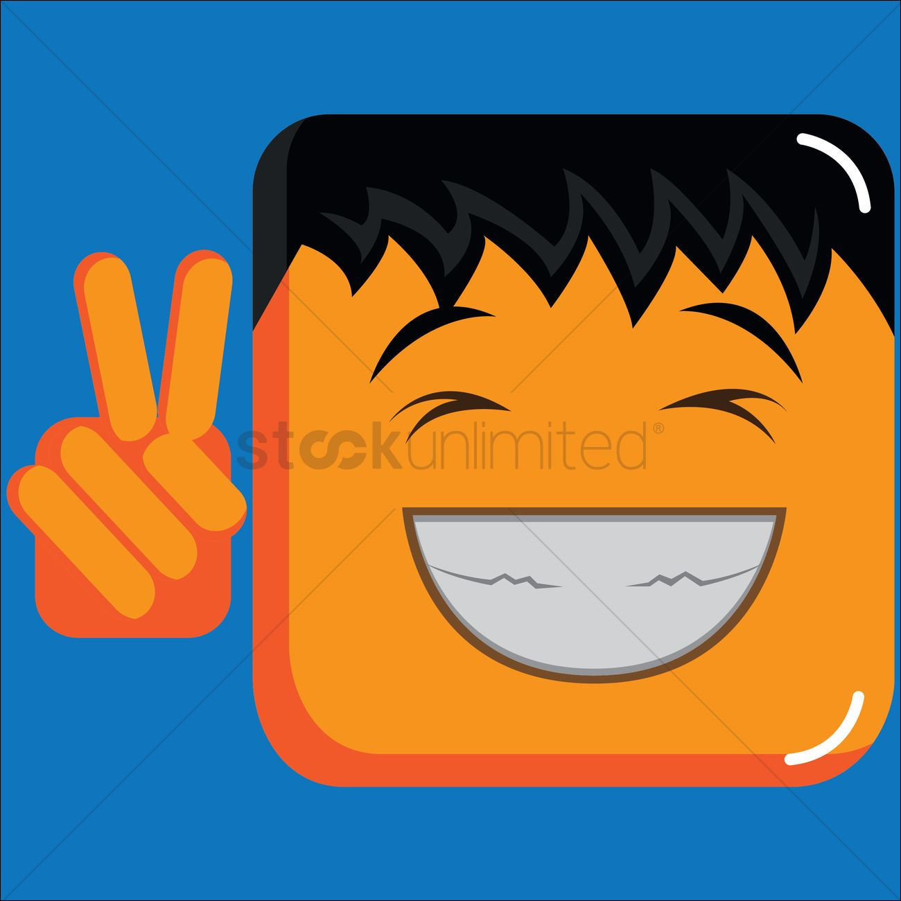 Grinning boy emoticon showing peace sign Vector Image - 1406582