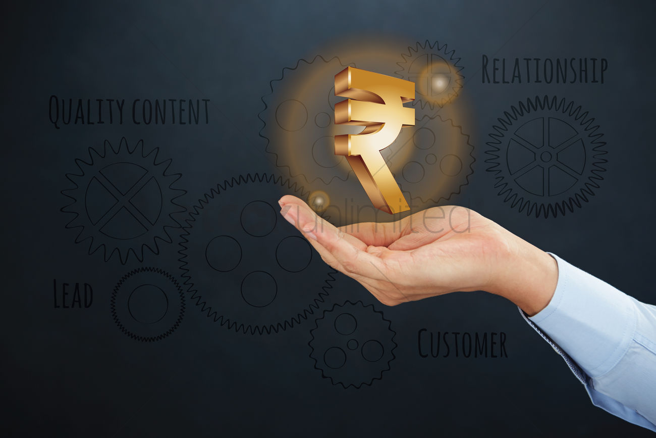 Hand Presenting Indian Rupee Currency Symbol Concept Stock Photo