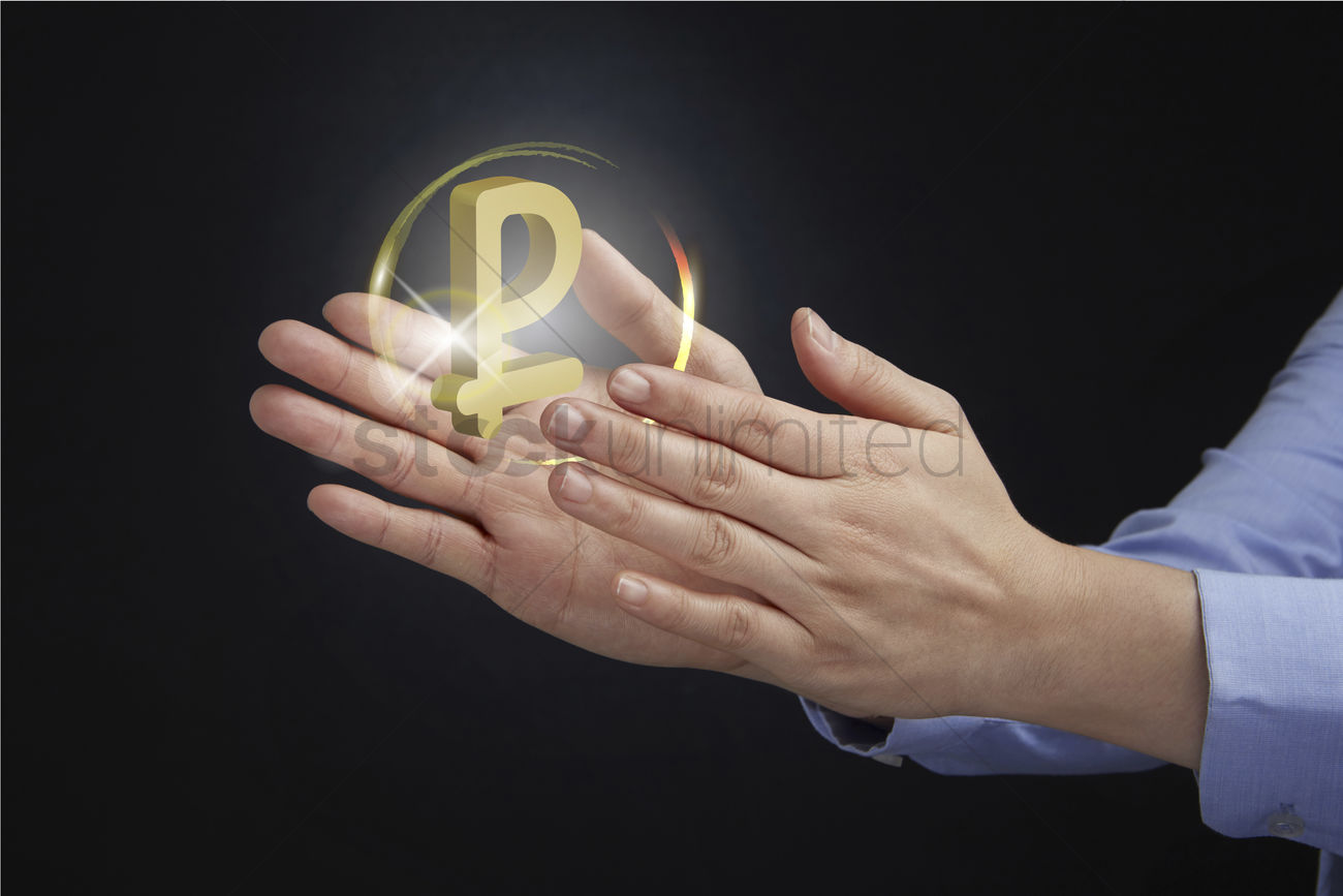 Hands Presenting Russian Ruble Currency Symbol Concept Stock Photo