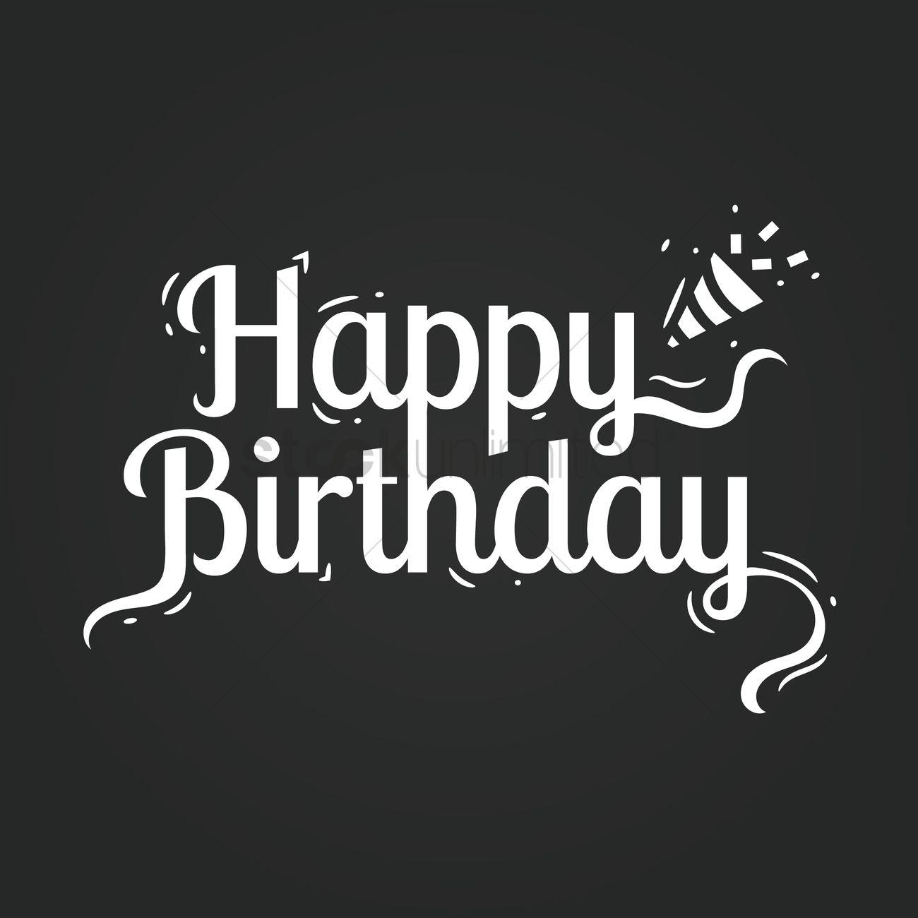 happy birthday card on blackboard vector graphic