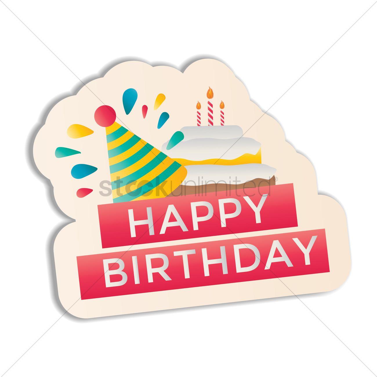 Happy birthday sticker vector graphic