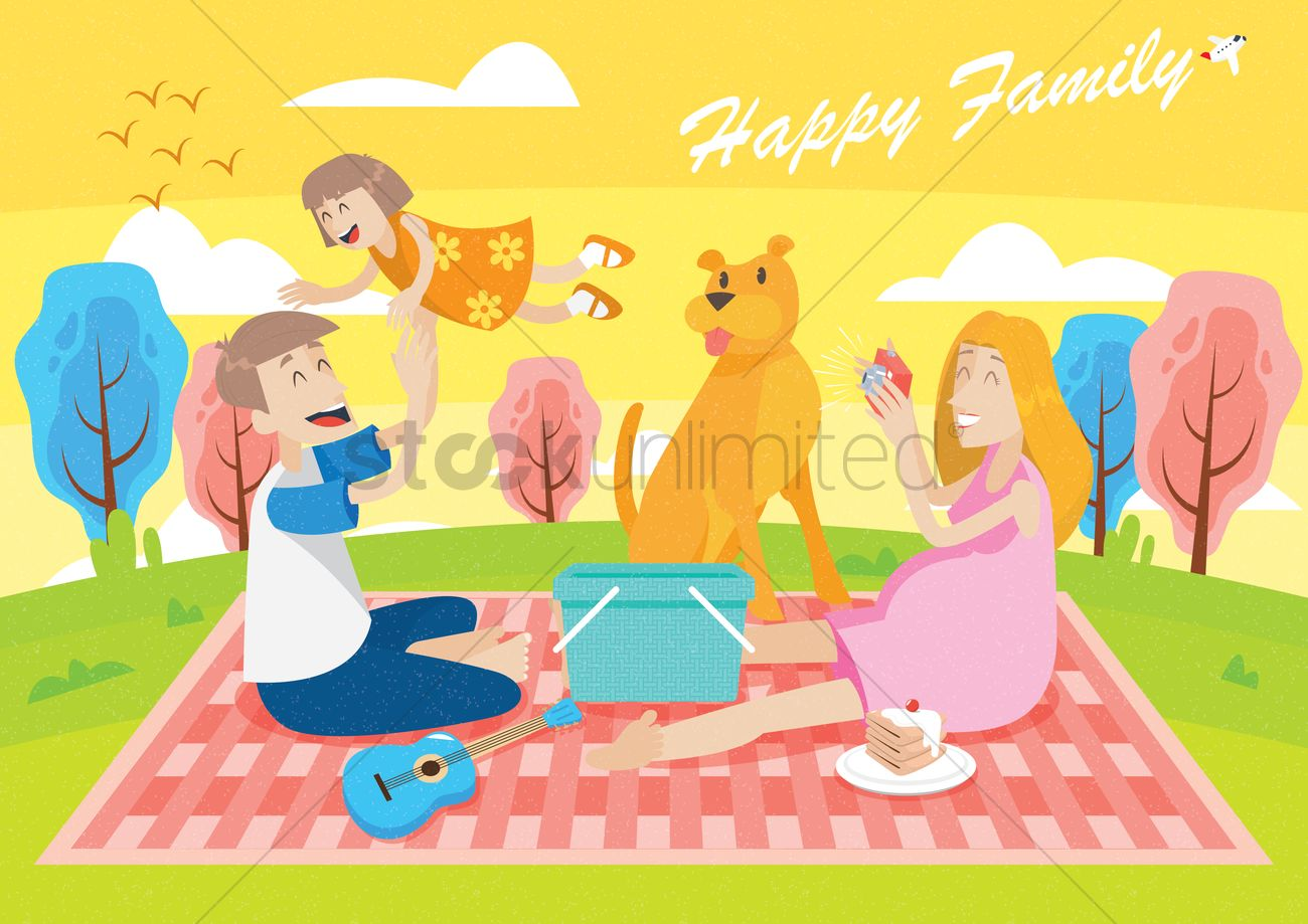 Happy Family Wallpaper Vector Image 1821902 Stockunlimited