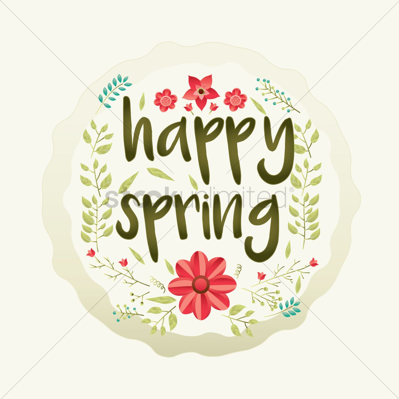 Happy Spring Card Design Vector Graphic
