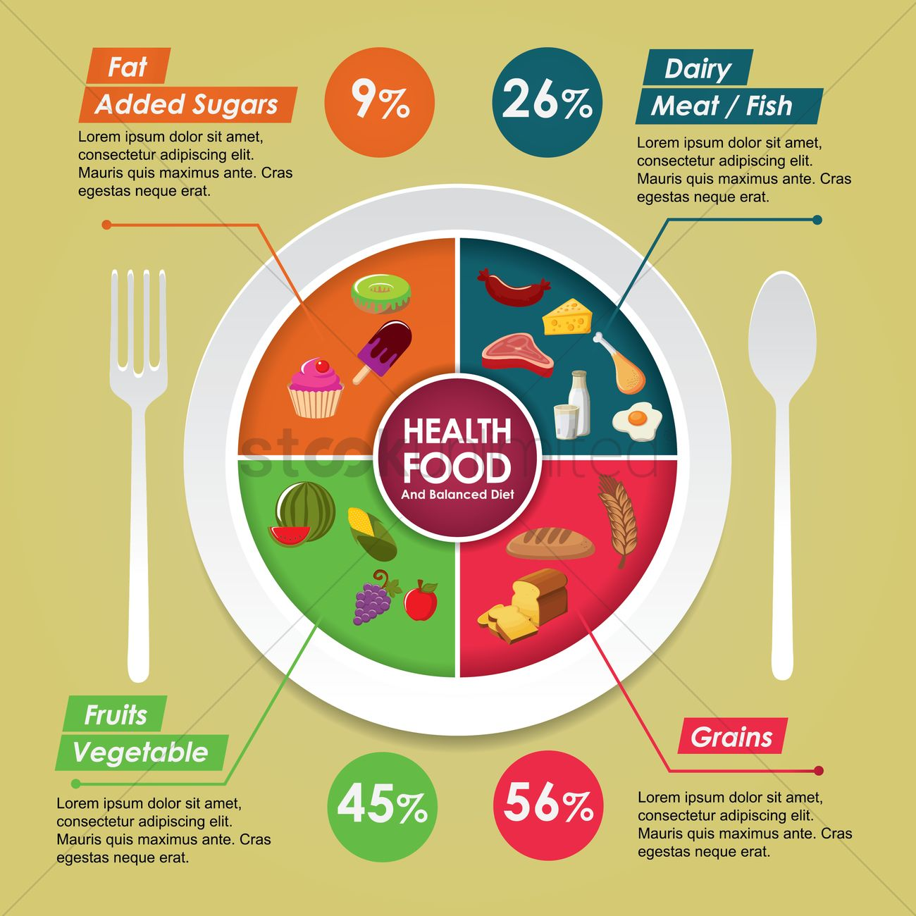 Health Food And Balanced Diet Design Vector Image