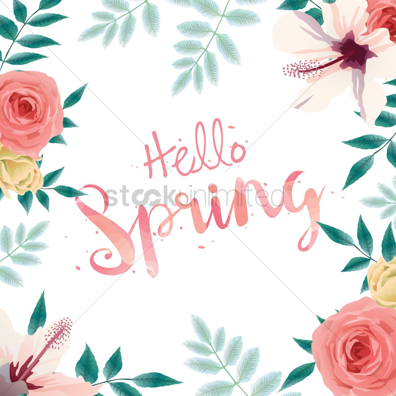 Incroyable Hello Spring Card Design Vector Graphic