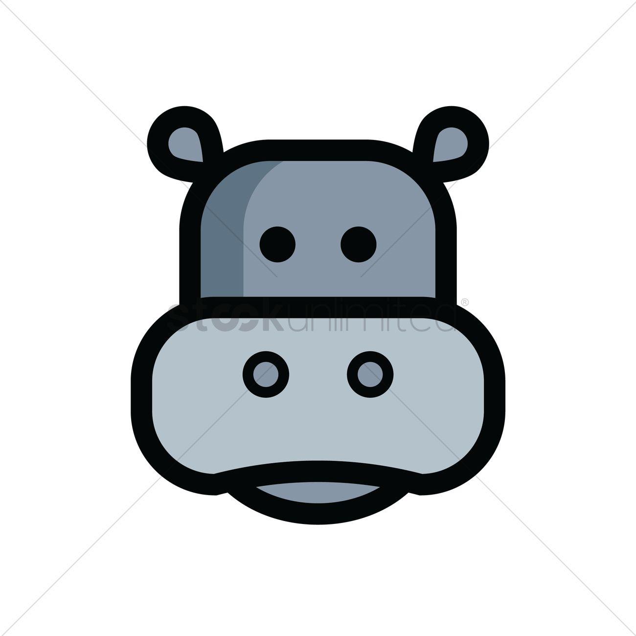 Hippopotamus Head Vector Graphic
