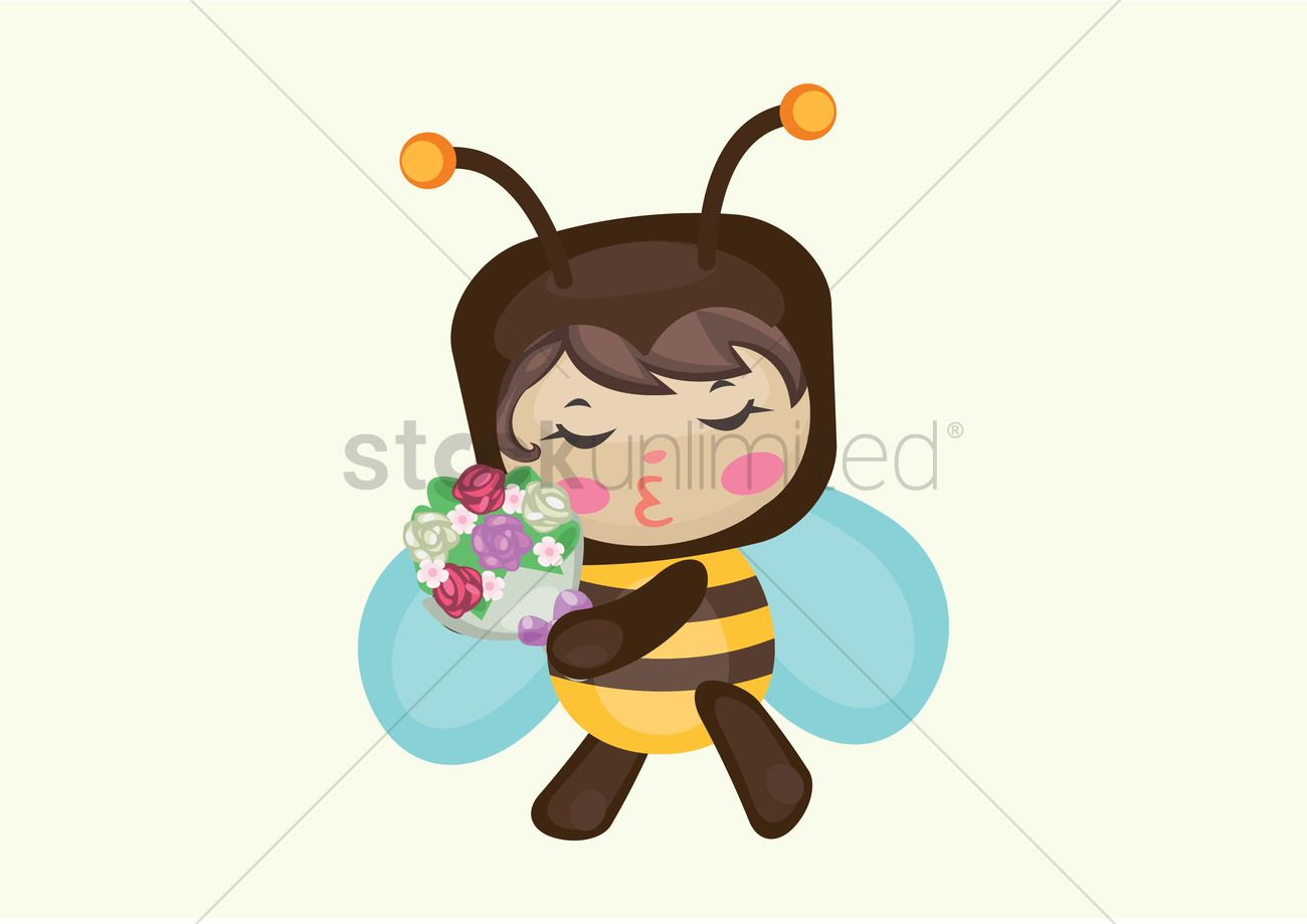 Honey Bee With Flower Bouquet Vector Image 1281966 Stockunlimited