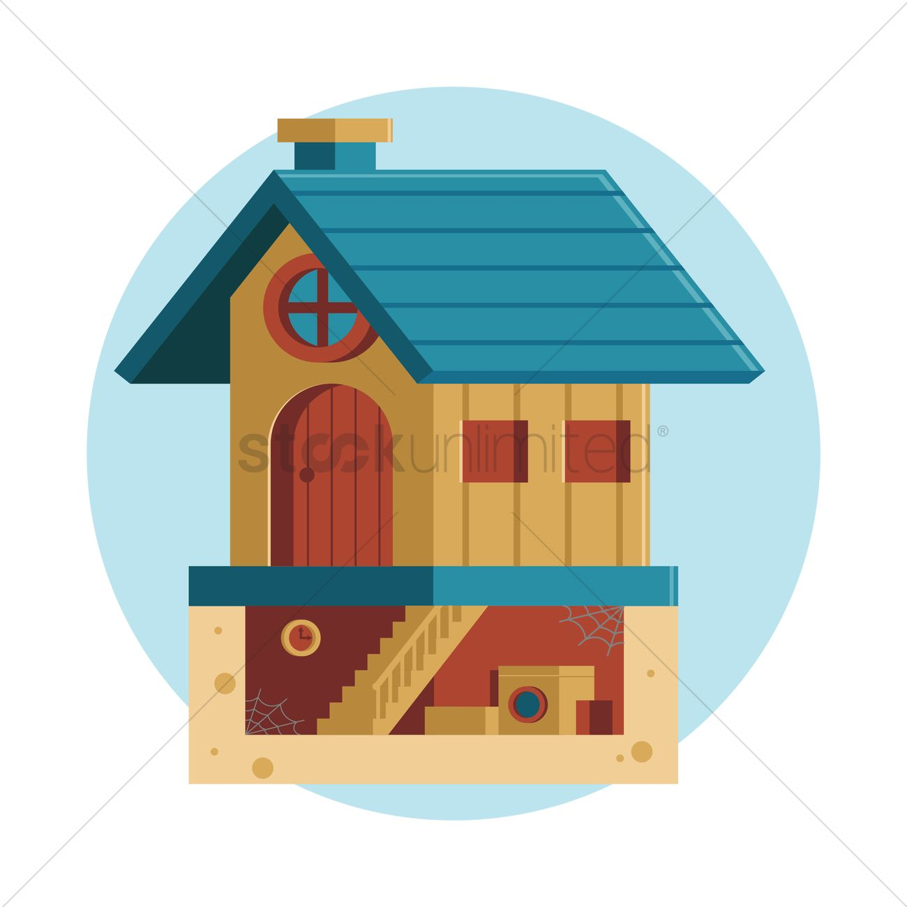 Free House With Basement Vector Image