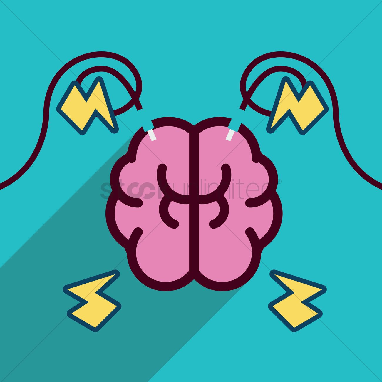 Free Human brain with electric wires Vector Image - 1469834 ...