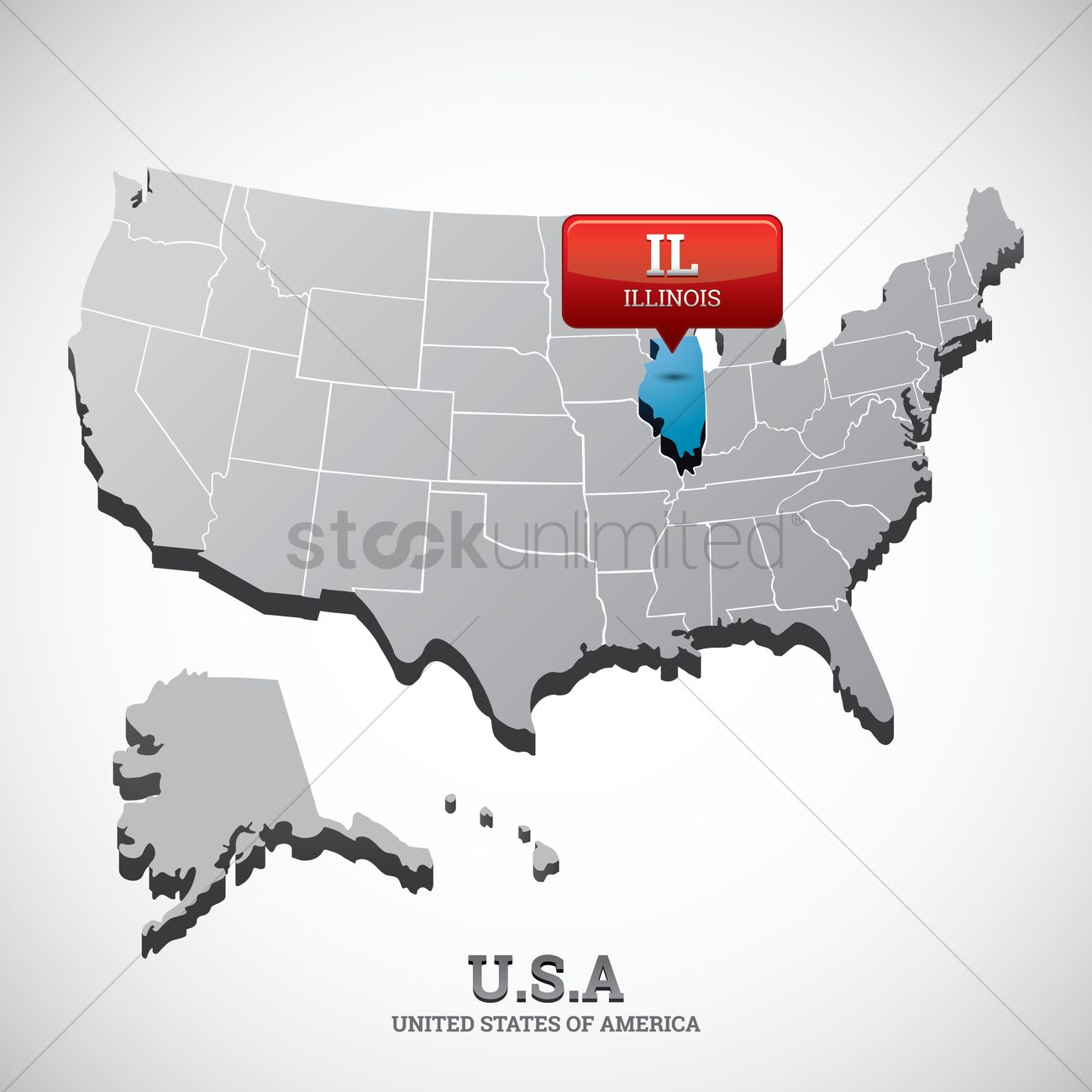 Illinois State On The Map Of Usa Vector Image 1532658 Stockunlimited - Illinois-in-us-map