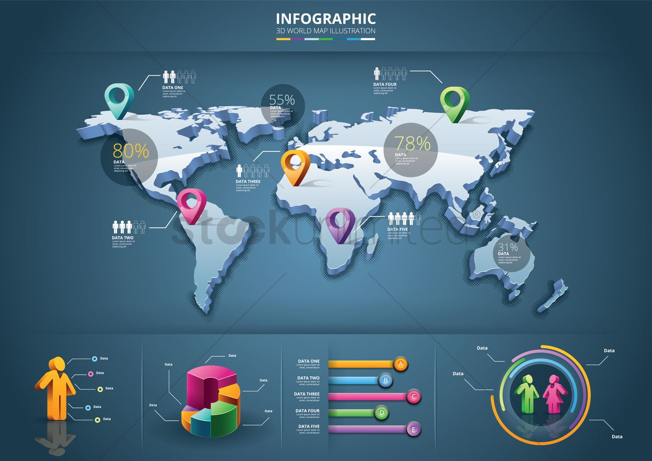 infographic of 3d world map vector graphic