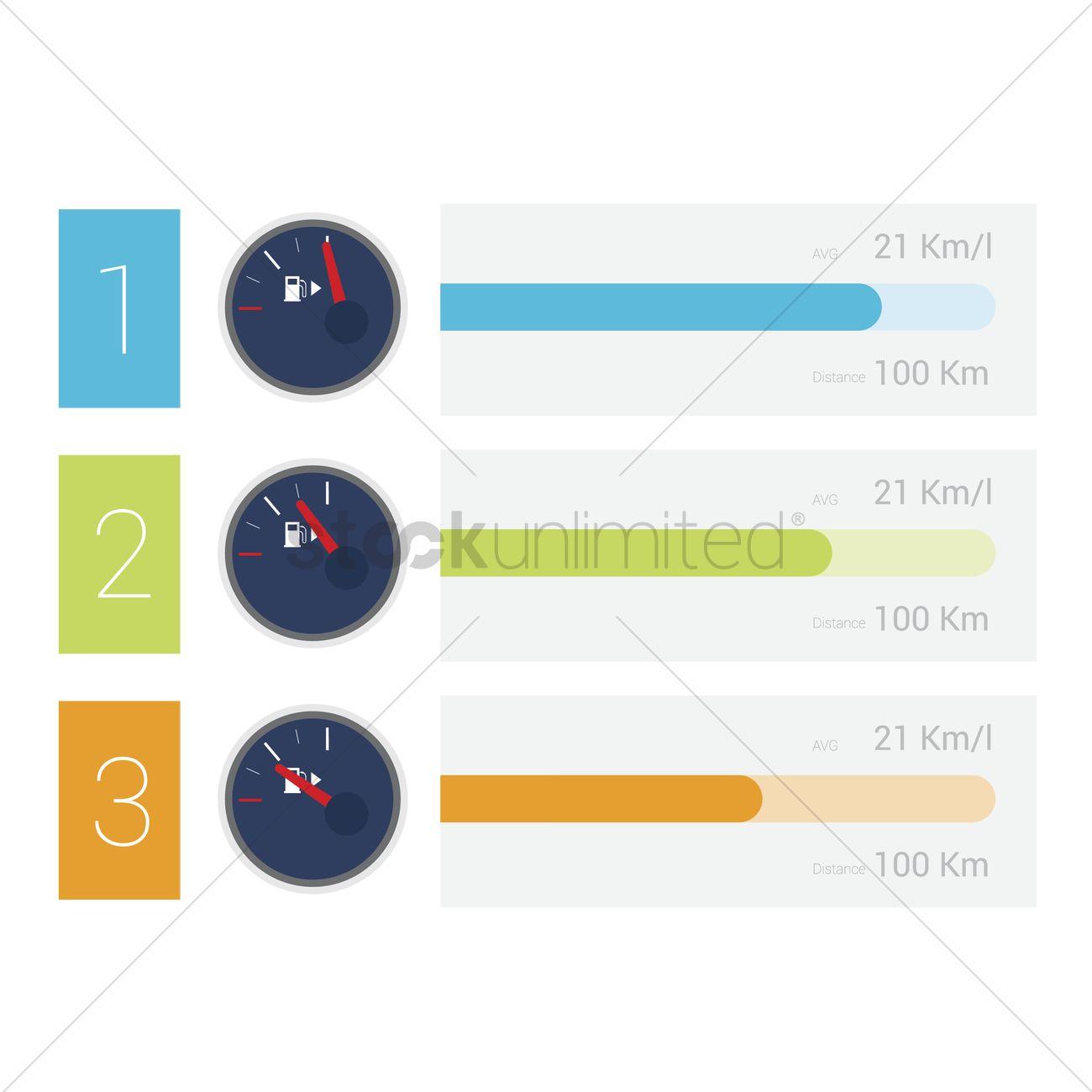 Infographic of fuel gauge Vector Image - 1537266