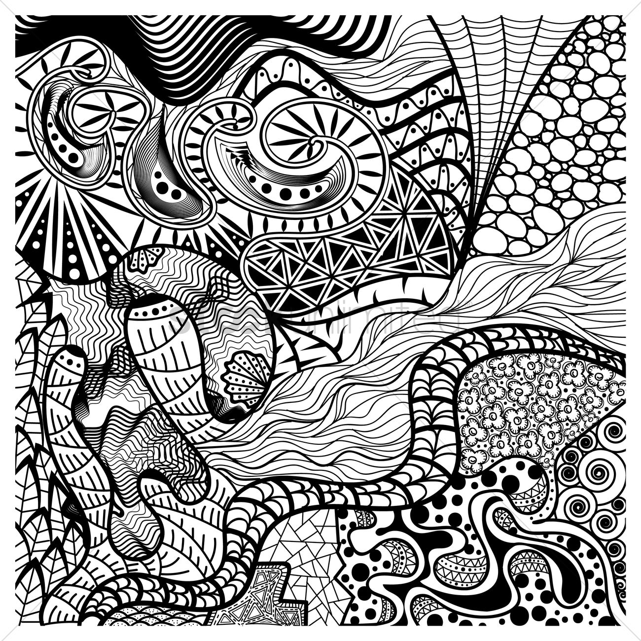 Line Art Media Design : Intricate abstract design vector image