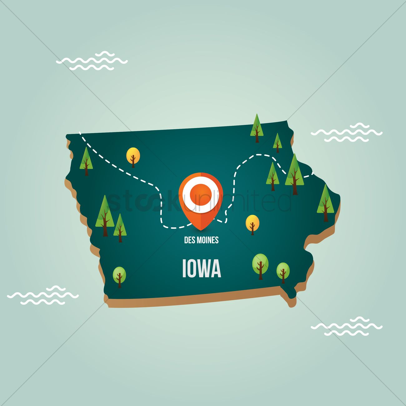 iowa map with capital city vector graphic