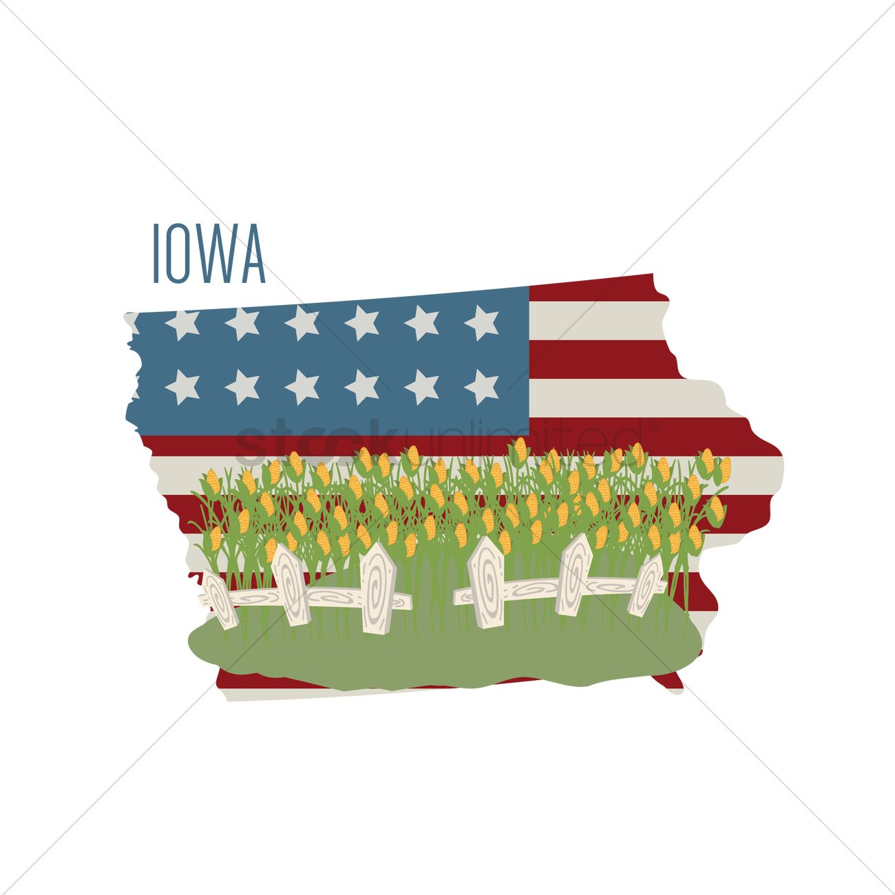 Iowa State Map With Corn Field Vector Image StockUnlimited - Map usa iowa
