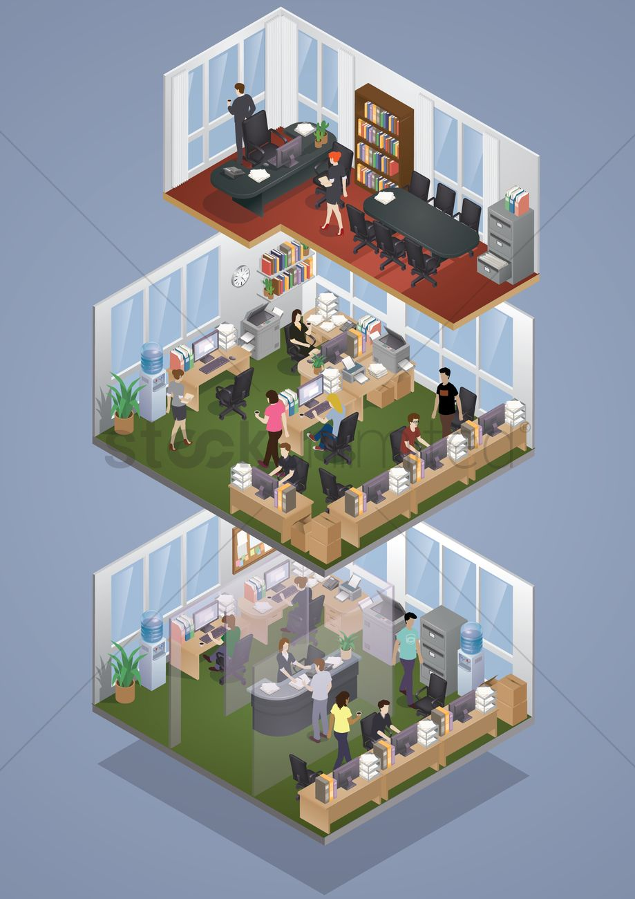 isometric office layout vector image - 1536738 | stockunlimited